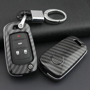 Carbon Fiber Flip Car Key Fob Chain Hard Case Cover Holder For Chevy Buick