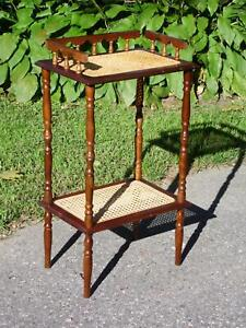 Vintage 2 Tier Wood Cane Plant Stand Accent End Table Nightstand