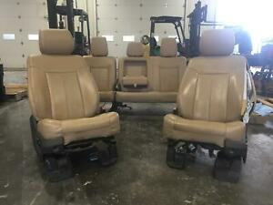 2011 2016 Ford F250 F350 Superduty Front Rear Seat Set Tan Leather Heated Pwr