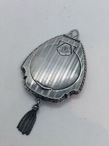 Antique Art Deco Sterling Silver Travel Purse Sized Tassel Compact