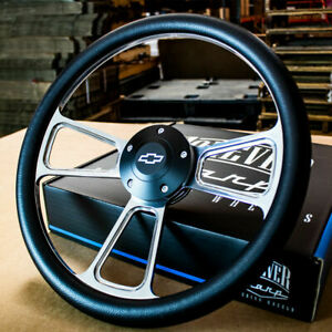 14 Billet Muscle Steering Wheel With Black Vinyl Wrap And Chevy Horn 5 Hole