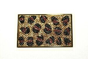 Leopard Look Business Card Holder Metal Case W Swarovski Crystal Crystallized