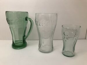 Set of 3 Vintage Coca-Cola Glass Sizes Small Mini Large Big With Handle Green