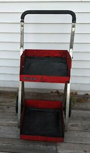 Snap on Red 2 Shelf Rolling Tool Parts Shop Cart