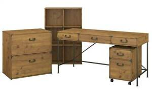 3 pc Writing Desk With File Cabinet Set In Vintage Golden Pine id 3906383