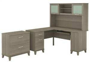 2 pc L Shaped Desk With Hutch Set In Ash Gray id 3906388