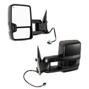 Left right For 03 06 Chevy Silverado Power heated Smoke Led Tow Mirrors