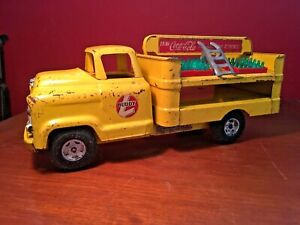 Coca-Cola 1950s Buddy L GMC 550 Metal Delivery Route Toy Truck Hand Cart Cases