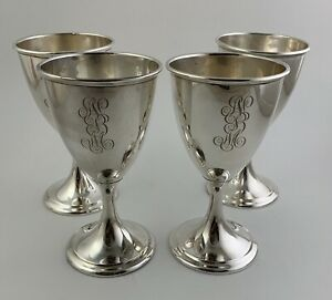 Set 4 R Wallace Sterling Silver Wine Water Goblets 6 2403 Mono