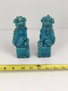 Pair Vintage Antique Chinese Porcelain Turquoise Ceramic Majolica Foo Dogs China