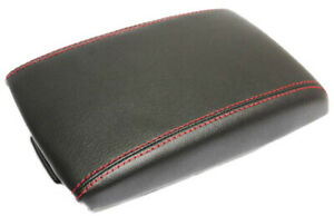 Fits 09 13 Mazda 3 Real Leather Center Console Lid Armrest Cover W Red Stitch