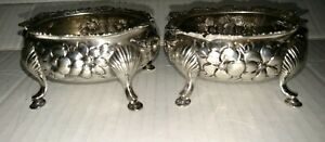 Pair Of Great American Gorham Sterling Silver Floral Repousse Open Salt Cellar