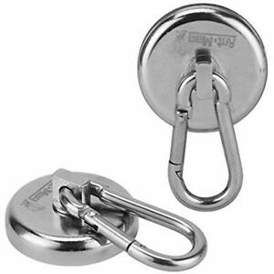 Ant Mag Magnetic Hooks 140lbs Heavy Duty Neodymium With Swiveling Carabiner Snap