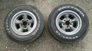 2 Rare Vintage Torque Thrust Style Mag Wheels Ratrod Chevy Chevrolet F70 14