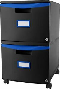 Storex 2 drawer Filing Cabinet Letter legal Size Black blue