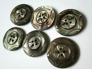 Set Of 6 Antique Mother Of Pearl Fancy Carved Shell Clothing Buttons