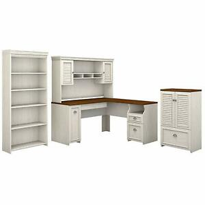 Bush Furniture Fairview 60w L Shaped Desk With Hutch Storage Cabinet With Drawe