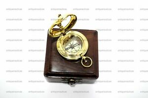 Collectible Push Button Sundial Compass Nautical Antique Marine With Wooden Box