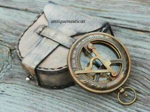 Brass Antique Nautical Push Button Compass Sundial Compass With Leather Box