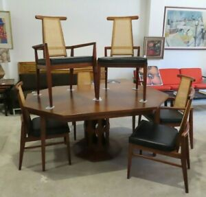 Foster Mcdavid Walnut Dining Table 6 Cane Back Chairs Mid Century Danish Set