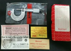 Starrett 230rl Micrometer With Box Paperwork Brand New Pristine Condition