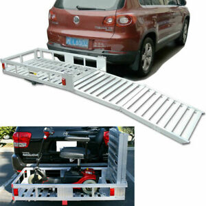 Aluminum Cargo Carrier With 60 Inch Folding Ramp Mobility Device Hitch Transport