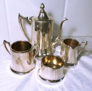 Armor Silver Company Epc 4 Pc Teaset Teapot Creamer Sugar And Waste Bowl