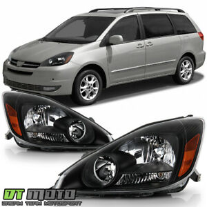 For 2004 2005 Toyota Sienna Halogen Black Headlights Headlamps 04 05 Left Right
