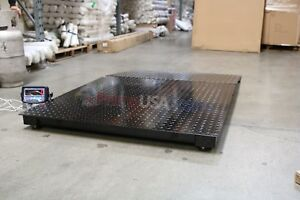 4x4 Floor Pallet Scale 8 000 Lb With 48 X 40 Ramp For Pallet Jack