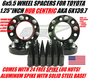 6x5 5 Hubcentric 1 25 Inch Wheel Spacers For Toyota 4runner Tacoma 24 Spike Lug