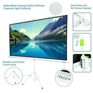 84 Tripod 16 9 Hd Portable Projector Screen Matte Pull Up W Foldable Stand