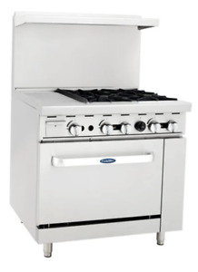Atosa Range 36 in Gas Range 4 burner 12 Left Grid 26 Oven Ato 12g4b