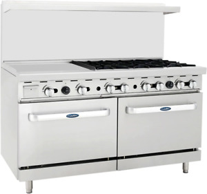 Atosa Range 60 in Gas Range 24 Lt Griddle 6 burner Ato 24g6b Ng lp