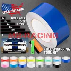 Gloss Color Racing Stripes Vinyl Wrap Rally Decals Stripe Sticker 10ft 20ft Long