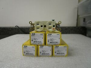 Qty 5 Hubbell Ig5262i 15a Duplex Receptacle Ivory Outlet 2 Pole 3 wiring Grd