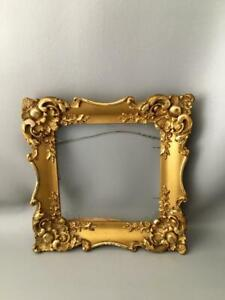 Antique Vtg Ornate Gold Gilt Wood Gesso Picture Painting Square Frame