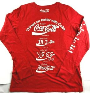 NWT NEW Women's Lucky Brand Coca-Cola Coke Language L/S T-Shirt Tee Top Small
