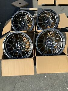 15x8 25 0mm Xxr 530 4x100 114 3 Chromium Black Rims Used Set