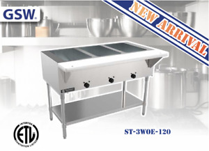 New 3 Well Electric Steam Table With Cutting Board Gsw St 3woe 120 Nsf etl 2968
