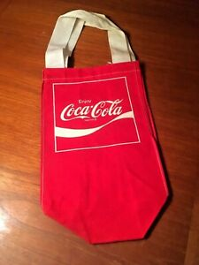 Coca-Cola 1970s - 80s Red Cloth Small Tote Bag Nylon Handles NOS Christmas Gift!