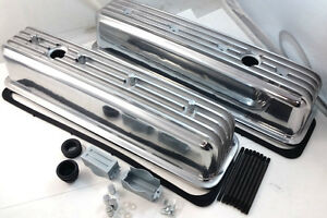 Sb Chevy Sbc Polished Finned Center Bolt Aluminum Tall Valve Cover 305 350 87 95