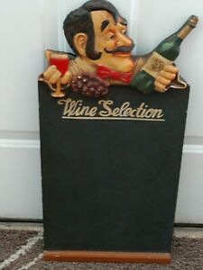 Vintage 3d Wine Selection Menu Chalk Board Wood Sign Approx 24 H X 12 w