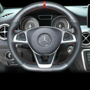 Carbon Fiber hole Leather Steering Wheel Stitch on Wrap Cover For Mercedes C200