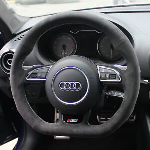 Black Suede Leather White Stitching Steering Wheel Stitch On Wrap For Audi S3