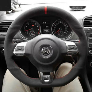 Black Suede Leather Red Marker Steering Wheel Stitch on Wrap For Vw Golf Mk6 Gti