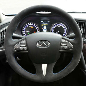Black Suede Leather Steering Wheel Blue Stitching Wrap Cover For Infiniti Q50