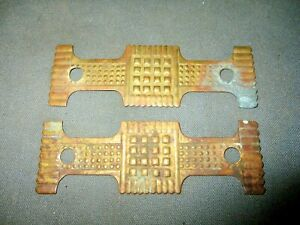 2 Matching Antique Victorian Brass Geometric Drawer Pull Back Plates Only