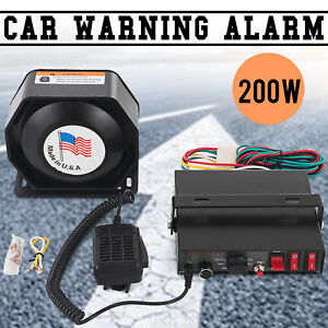 200w Car Warning Alarm 8 Sound Loud Police Fire Siren Horn Pa Speaker Mic System