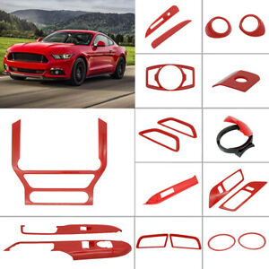 12x Full Car Interior Accessories Decoration Trim For 15 19 Ford Mustang Red