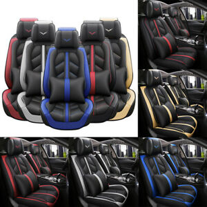 5 Seats Full Set Leather Car Seat Cover Waterproof Breathable Front Back Cover